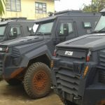 Some Armoured Personnel Carriers deployed for Edo election, stationed at the state police command headquarters, Benin City. Photo: MIKE OSAROGIAGBON